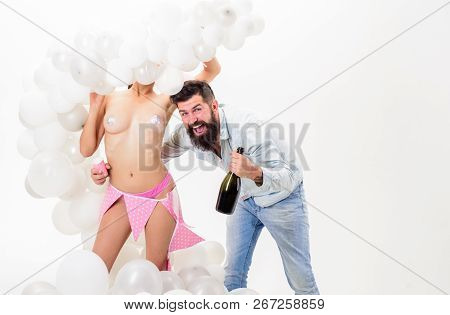 Man Bearded Happy Bachelor Celebrate With Champagne. Hipster Bachelor Celebrate. Idea Bachelor Party