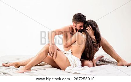 Sensual Foreplay And Intimacy. Lovers Naked Hug Or Cuddling. Intimacy Moment. Intimacy And Trust Bet