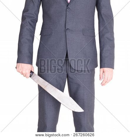 Office Maniac With Machete Isolated On White Background