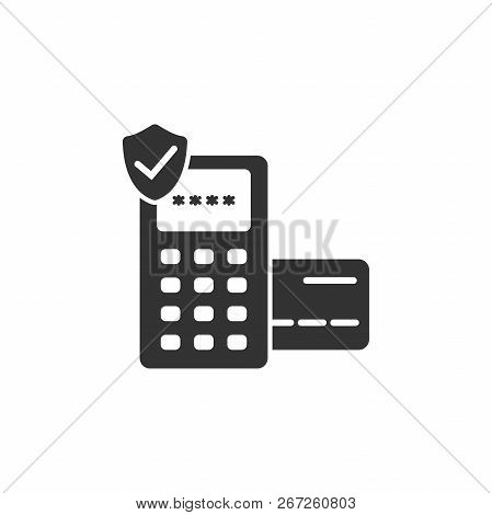 Eftpos Secured Terminal Payment Vector Icon. Payment Pdq Terminal And Shield Icon. Credit And Debit