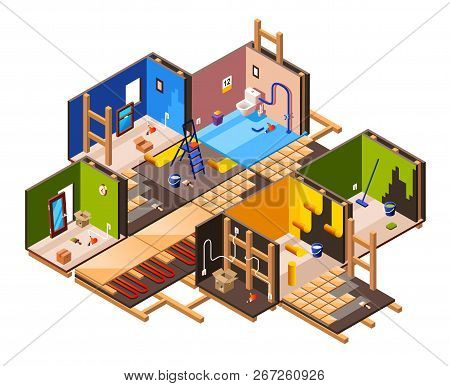 Isometric Home Interior Renovation And Repair Work Process Stages In House Cross Section. Plumbing,
