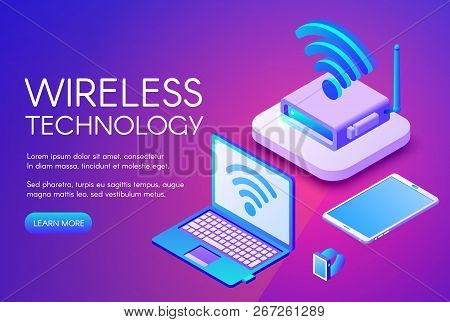 Wireless Technology Illustration Of Internet Data Transfer In Digital Devices. Wi-fi Router Or Nfc W