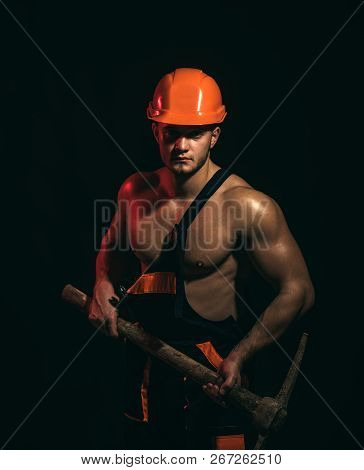 We Renovating, Under Construction. Construction Worker. Muscular Man Worker. Hard Worker With Muscul