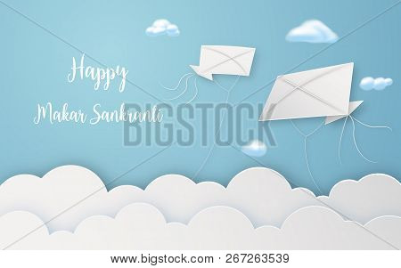 Happy Makar Sankranti Festival With Flying Kites In Air Digital Craft. Religious And Celebration Fes