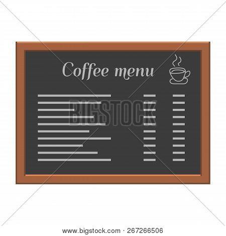 Menu Board At A Restaurant Or Cafe. Wooden Frame. Flat Style Vector Illustration.