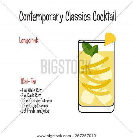 Mai-tai Alcoholic Cocktail Vector Illustration Recipe Isolated
