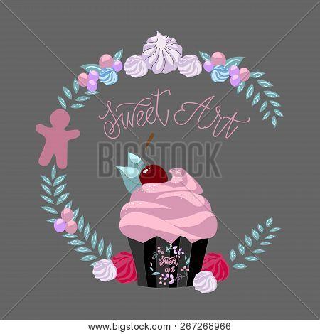 Cupcakes Bakery Icon. Vector Logo Design Template.confectioner Logo.confectioner Wreath.confectioner
