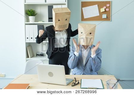 Business, Emotions And People Concept - Two Angry And Exhausted Workers At Working Place. People Wea