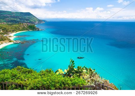 Cape Capo Vaticano Ricadi Aerial View From Cliffs Platform, Sandy Beach, Green Mountains, Sicilia Is