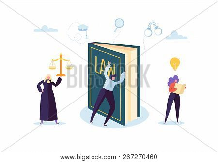 Law And Justice Concept With Characters And Judical Elements, Lawbook, Lawyer. Judgment And Court Ju