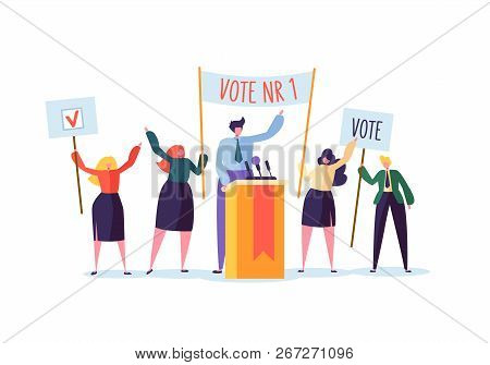 Political Meeting With Candidate In Speech. Election Campaign Voting With Characters Holding Vote Ba