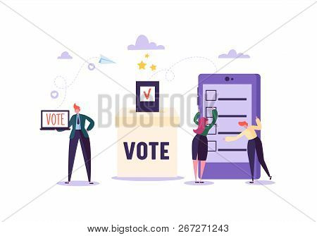 E-voting Concept With Characters Voting Using Laptop And Tablet Via Electronic Internet System. Man