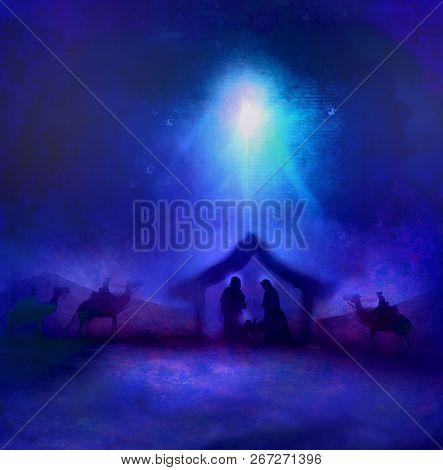 Birth Of Jesus In Bethlehem Landscape , Raster
