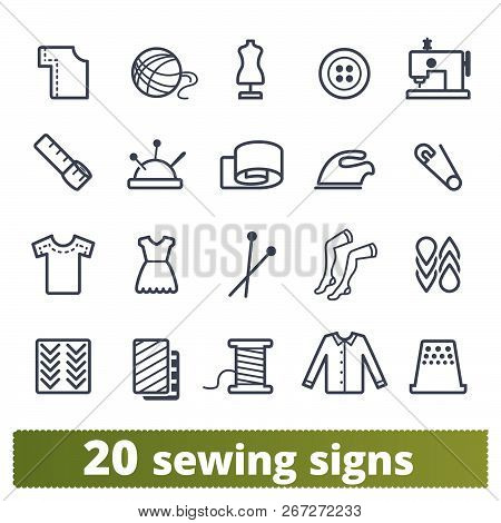 Fashion Industry, Atelier Equipment, Sewing And Knitting, Handicraft Clothing Icons. Vector Collecti