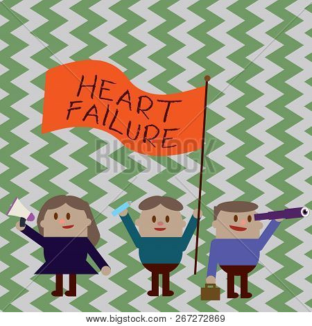 Writing Note Showing Heart Failure. Business Photo Showcasing Failure Of The Heart To Function Well