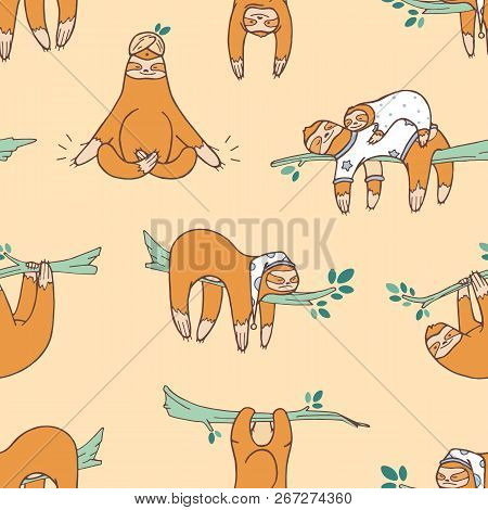 Seamless Pattern With Cute Sloths Sleeping, Napping, Dozing. Backdrop With Adorable Lazy Wild Exotic