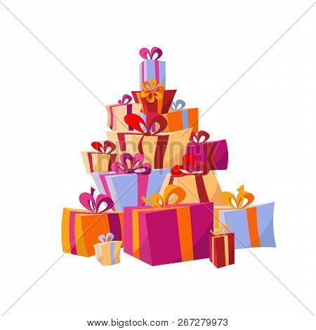 Set Of Piles Of Colorful Gift Boxes. Mountain Gifts. Beautiful Present Box With Bows. Vector Illustr