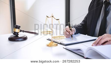 Judge Gavel With Justice Lawyers, Businessman In Suit Or Lawyer Working On A Documents. Legal Law, A