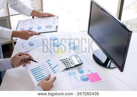 Business Accountant Or Banker, Business Partner Calculate And Analysis With Stock Financial Indices