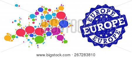 Social Network Map Of Europe And Blue Distress Stamp Seal. Mosaic Map Of Europe Is Formed With Speak