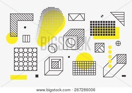 Universal Trend Linear Geometric Shapes Set With Halftone Elements