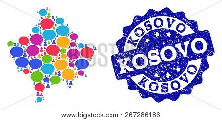 Social network map of Kosovo and blue distress stamp seal. Mosaic map of Kosovo is formed with comment bubbles. Flat design elements for social network posters. poster