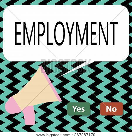 Conceptual Hand Writing Showing Employment. Business Photo Text State Of Having Paid Work Occupation