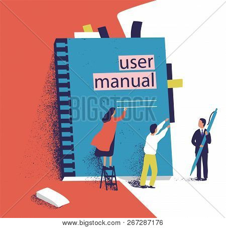Tiny People Or Managers Trying To Open Giant User Manual. Small Men And Women And Large Computer Sof