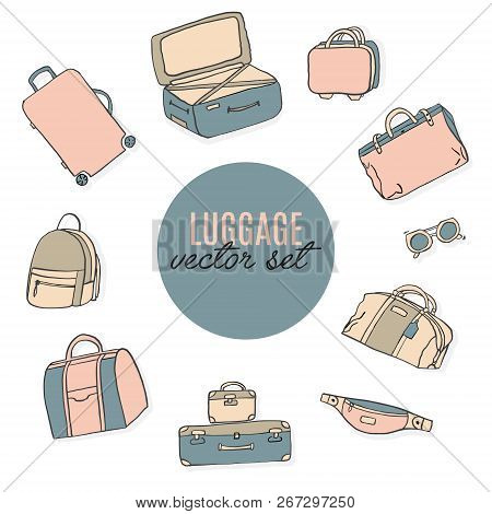 Luggage vector illustration. Baggage accessories: suitcase, bum bag, travel gear, briefcase, duffle, backpack texture. Vector summer surface print. Travel brochure. poster