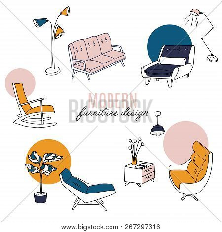 Isolated Home Decor Elements In Hand Drawn Style. Vector Scandinavian Interior Design . Illustration