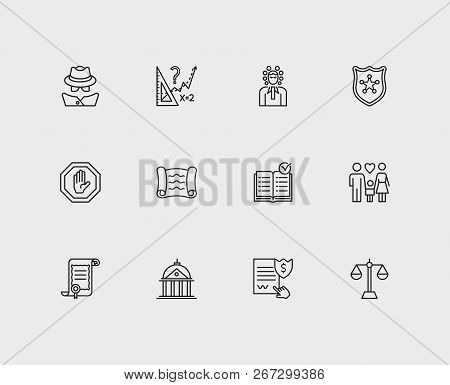 Court Icons Set. Detective And Court Icons With Court, Stop And Rule. Set Of Building For Web App Lo