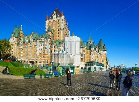 Quebec City, Canada - September 27, 2018: View Of The Dufferin Terrace And The Chateau Frontenac, Wi