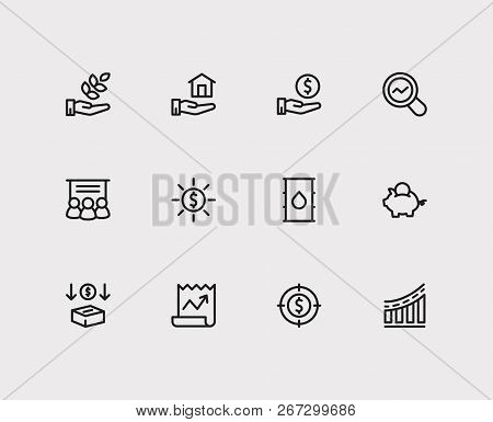 Economy Icons Set. Investment Target And Economy Icons With Staff Training, Hand Money, Petroleum. S