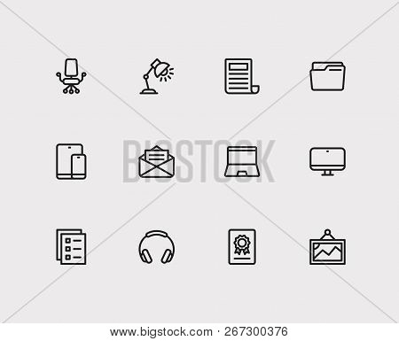 Workspace Icons Set. Laptop And Workspace Icons With Mail, News And Tablet With Phone. Set Of Painti