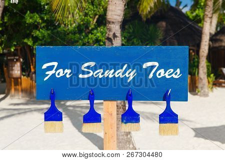 Brushes For Cleaning Shoes And Feet From The Sand On The Beach.