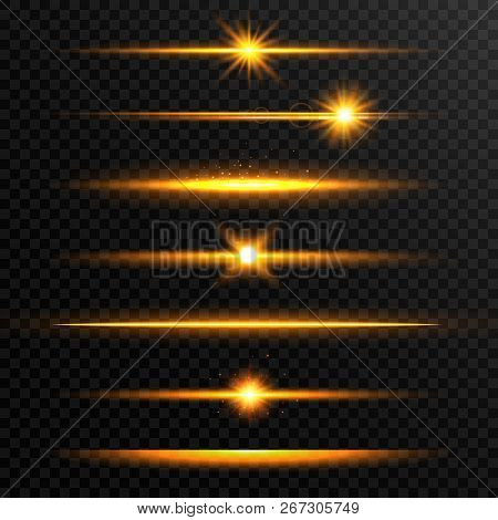 Shining Line Set. Golden Realistic Lens Flare Set. Collection Of Gold Light Effects On Transparent B