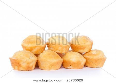 Freshly baked cornbread muffins with  cheese, isolated on white background