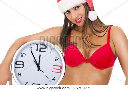 closeup of a sexy santa woman with clock on whit background