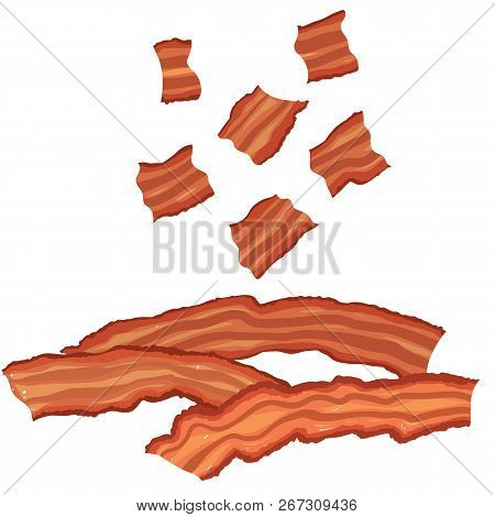 Vector Painterly Set Of Bacon, Cooked And Bits. Editable, Scalable Illustration Isolated On A White