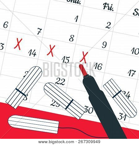 A Calendar With The Menstrual Days Marks And Menstrual Tampons. Vector Illustration Of Blood Period