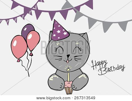Cute Cat Blows Out The Candle On Cupcake Creative Cards Templates With Happy Birthday
