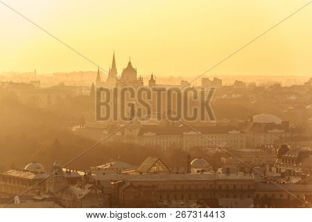 Lviv Old City Panorama View At Sunset. Aerial Panorama In Orange Colors. Sunset On Lviv City