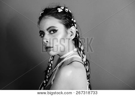 Woman. Adorable Woman Or Pretty Girl, Cute Model With Stylish Hair, Braids, And Color, Bright Makeup