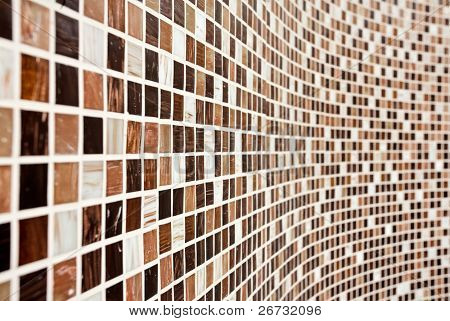 Bathroom Wall with brown mosaic pattern