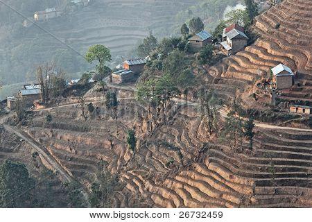 Mountain hill terrace in morning haze, Nagarkot, Nepal