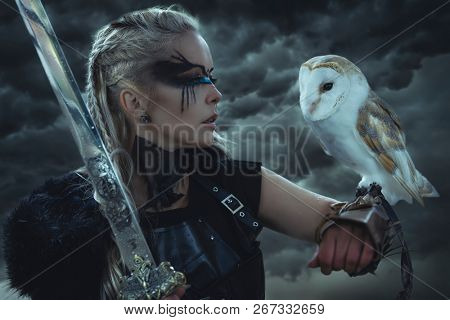 beautiful white owl, Viking blonde woman with shield and sword, braids in her hair.