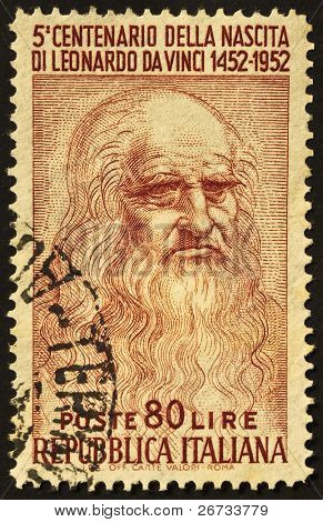 ITALY - CIRCA 1952: A stamp printed in Italy celebrates the fifth centenary of Leonardo da Vinci's birth, famous italian renaissance genius. Italy, circa 1952