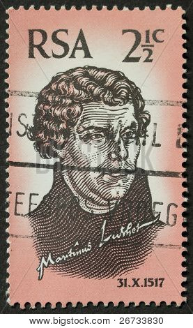SOUTH AFRICA - CIRCA 1967: a stamp printed in South Africa celebrates the 450° anniversary of the Protestant Reformation, showing image of Martin Luther. South Africa, circa 1967