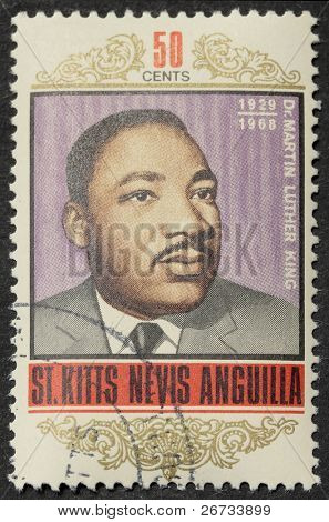 ST. CHRISTOPHER-NEVIS-ANGUILLA - CIRCA 1968: a stamp printed in St. Christopher celebrates Martin Luther King's death, the leader in the African American civil rights movement. Anguilla, circa 1968