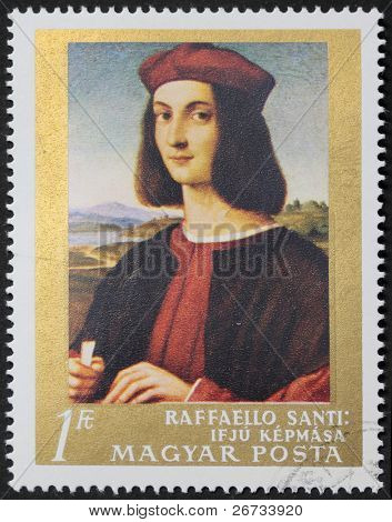 HUNGARY - CIRCA 1968: a stamp printed in Hungary shows a reproduction of Raphael's ?Portrait  of a young man?. Hungary, circa 1968